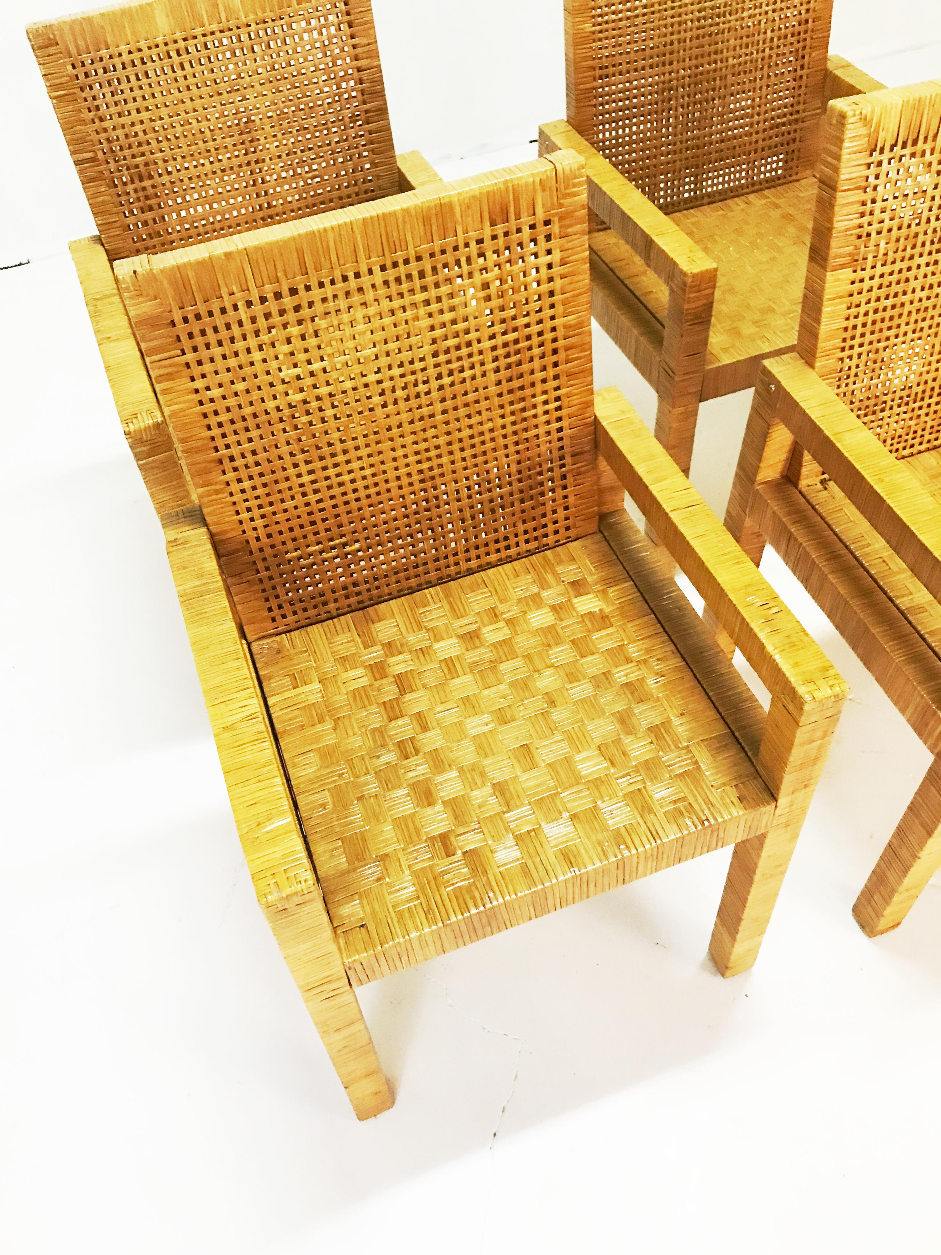 Billy Baldwin Billy Baldwin Style Wrapped Rattan Armchairs   Set Of 4 For  Sale   Image