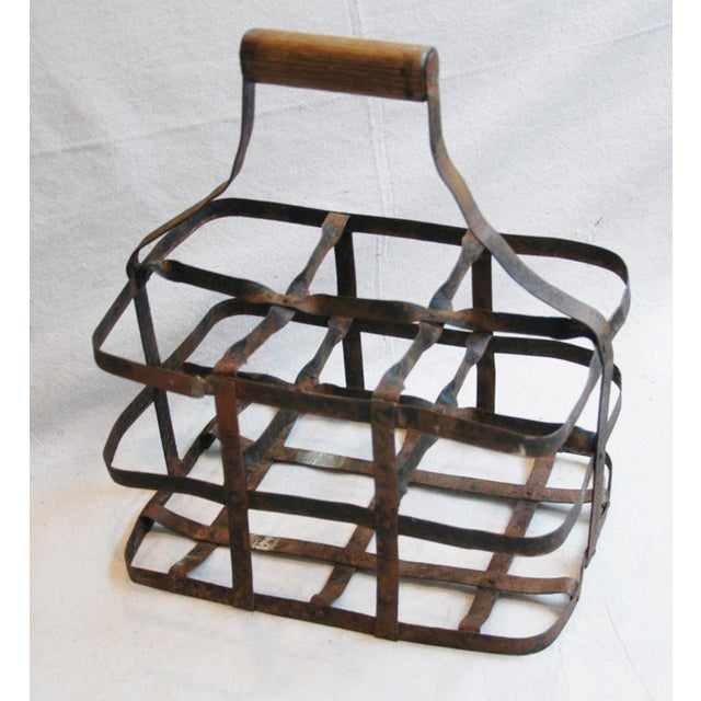 Brown 1930s French Metal 6 Bottle Wine Carrier For Sale - Image 8 of 8