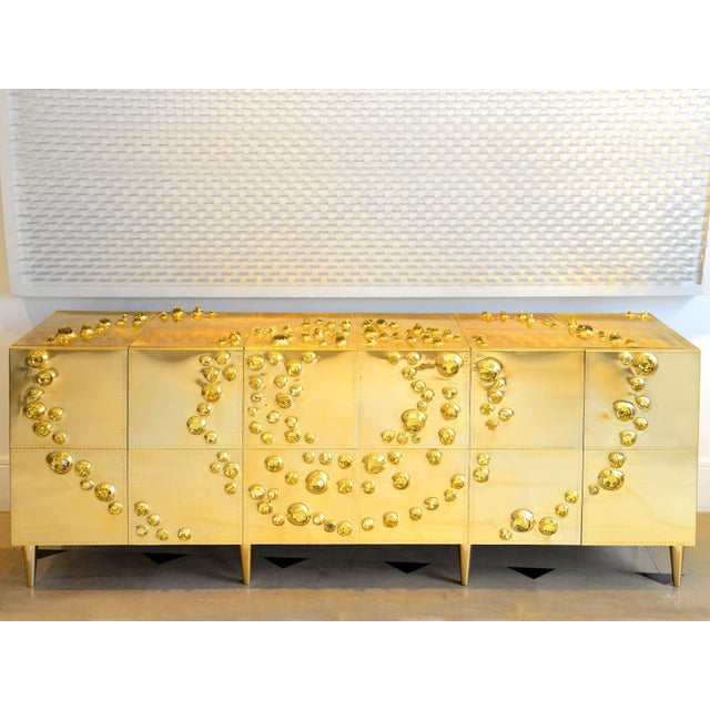 Gold Roberto Giulio Rida - Unique Sideboard Made of Brass, Wood, and Glass Crystals For Sale - Image 8 of 8