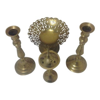Vintage Brass Bowl, Burner, & Beehive Candlesticks - Set of 4
