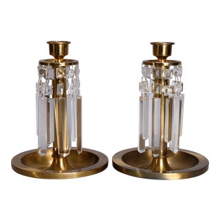 Arts & Crafts Brass & Crystal Candlesticks, circa 1910 - a Pair For Sale