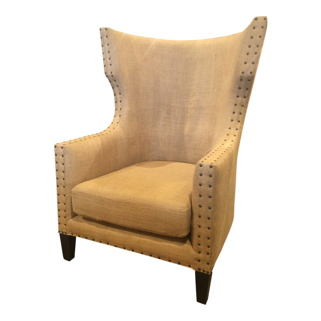 Noir Furniture Bernie Burlap Wingback Chair For Sale
