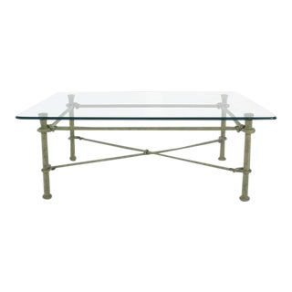 Mid-Century Modern Rectangle Wrought Iron Base Glass Top Coffee Table For Sale