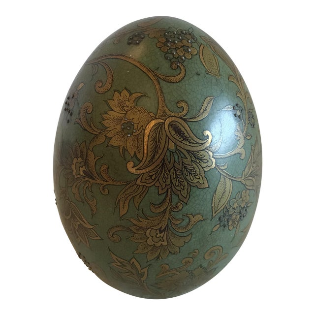 Green & Gold Egg With Floral Raised Details For Sale