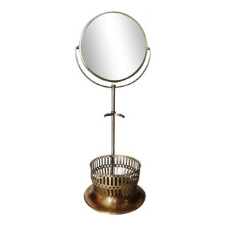 Vintage Brass and Silverplate Shaving Mirror For Sale