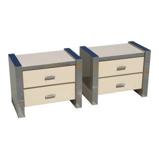 1970's Laminate and Chrome Nightstands-a Pair For Sale