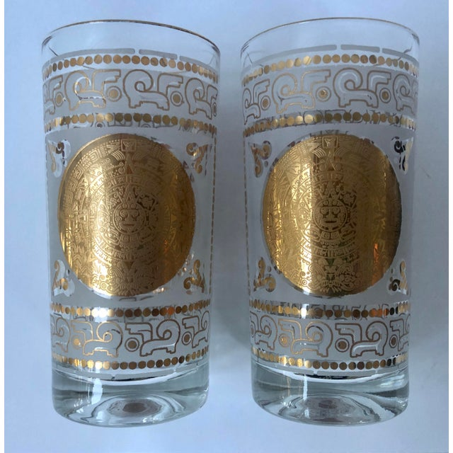 Mid 20th Century Hazel Atlas Frosted and Gilt Aztec Highball Cocktail Glasses - a Pair For Sale In Charleston - Image 6 of 12