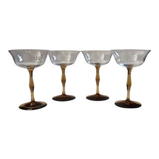 Vintage Amber Stemmed Art Nouveau Coupe Champagne Glasses - Set of 4 For Sale