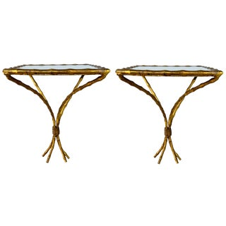 Pair of Gilt Metal Faux Bamboo Wall Brackets For Sale