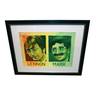 Painted Silkscreen of John Lennon & Groucho Marx by Ron English For Sale