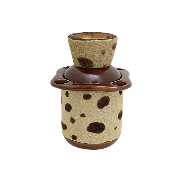 Midcentury French Cow Hide Tobacco Jar For Sale