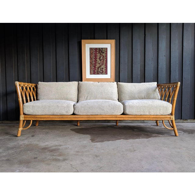McGuire 1980s Contemporary McGuire Bamboo Rattan Sofa For Sale - Image 4 of 11
