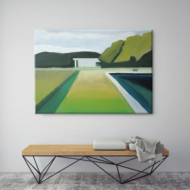 """Abstract Landscape Poolside Painting - 30"""" x 40"""" - Image 2 of 5"""