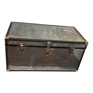 1920s Boho Chic Mossman Polished Metal Trunk For Sale