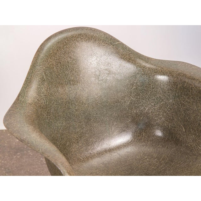 Eames Olive Green Fiberglass Armshell Chair For Sale In New York - Image 6 of 9