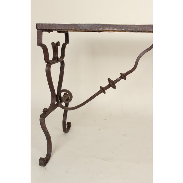 Spanish Tile Top Wrought Iron Patio Table For Sale In Los Angeles - Image 6 of 13