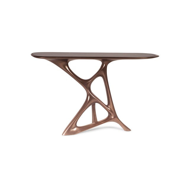Amorph Anika Console Table, Bronze Finish. Available in different finishes and custom sizes. Lead Time: 4 to 6 Weeks