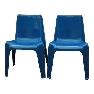 1960s Vintage Helmut Batzner Stackable Blue Space Age Bofinger Chairs- A Pair For Sale