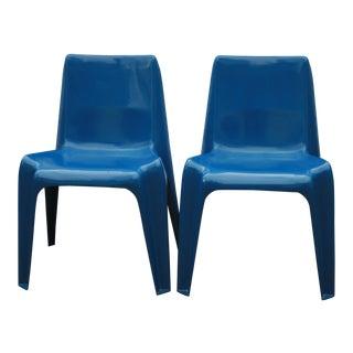 1960s Vintage Helmut Batzner Stackable Blue Space Age Bofinger Chairs- A Pair For Sale