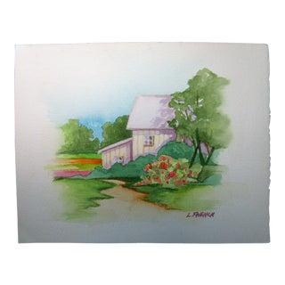 French California Plein Air Landscape Valley Farm Barn W/C Painting by Lynne French For Sale