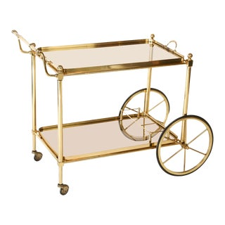 French Brass and Glass Midcentury Bar Cart For Sale