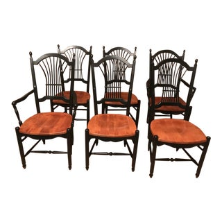 1990s Vintage Nichols & Stone Cherry Wheat Sheaf Chairs- Set of 6 For Sale