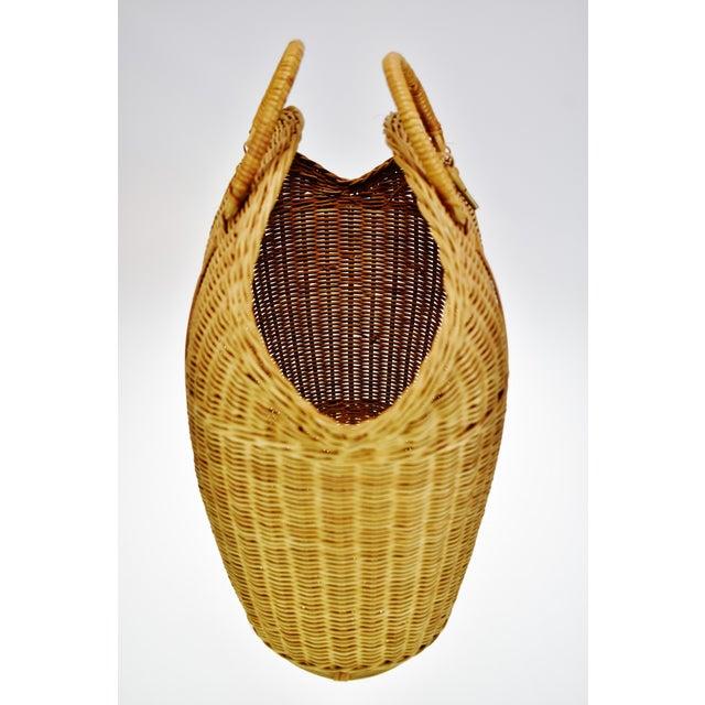 Vintage Wicker Tote Basket For Sale In Philadelphia - Image 6 of 11
