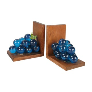 Mid-Century Blue Grapes & Wood Bookends - A Pair For Sale