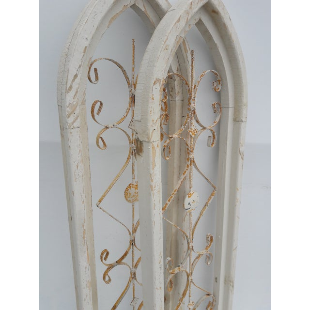 2010s Rustic Farmhouse Cathedral Grill Shabby Window Wall Hangings - a Pair For Sale - Image 5 of 7
