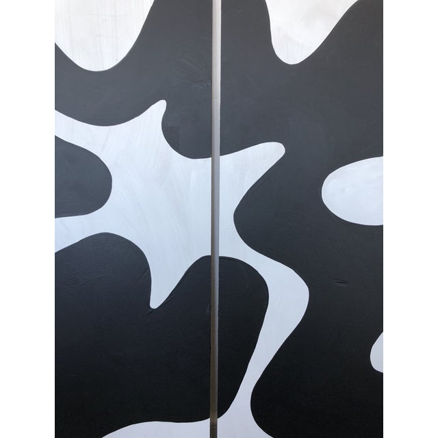Hannah Polskin original 2018 black and white abstract acrylic painting on plywood. Serpentine motif with monochrome color...