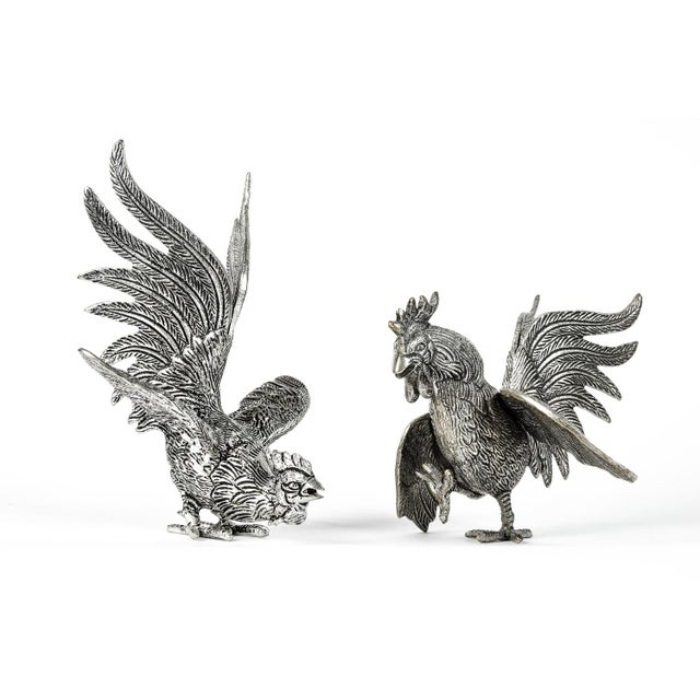 Vintage English pair silver plated rooster's table decoration pieces. These are just beautiful and would bring a great...