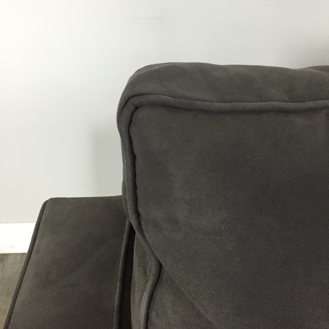 Room & Board Charcoal Suede Loveseat - Image 5 of 11