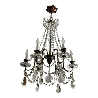 Antique Six Arm Crystal Chandelier C. 1890 For Sale