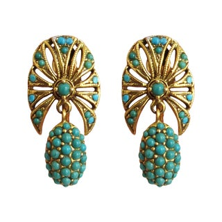 Antique 14k Gold and Turquoise Earrings - a Pair For Sale