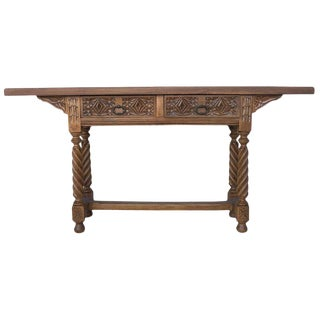 18th Century Spanish Catalan Carved Console Table With Two Drawers For Sale