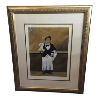 Guy Buffet Limited Edition Lithograph Waiter With Poddle Signed For Sale