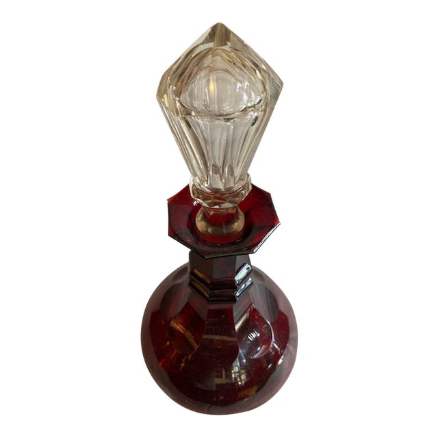 Ruby Red Glass Decanter Bottle / Clear Stopper For Sale