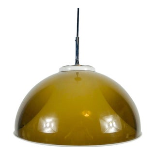 1970s Brown Acrylic Glass Pendant Lamp by Hillebrand, Germany For Sale