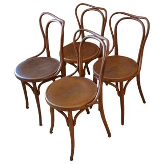Dining Chairs Bentwood J & J Kohn Bistro Chairs, Austria Set of 4 (16 Available) For Sale