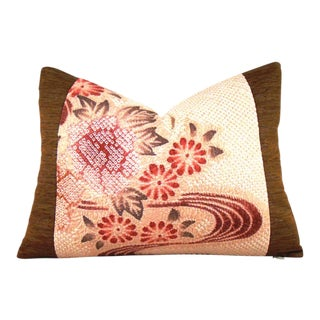 Japanese Silk Shibori Streamside Floral Lumbar Pillow Cover For Sale