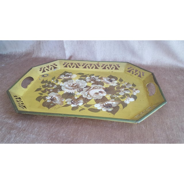 Vintage Chartreuse Floral Tole Tray For Sale - Image 5 of 8