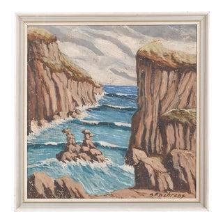 Mid-Century Ocean Bluffs Landscape by Cf Behrens For Sale