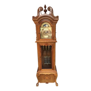 1990s Traditional Clocks Ltd. Classic Wood Grandfather Clock For Sale