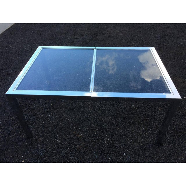 Milo Baughman Chrome& Glass Dining Table - Image 7 of 8