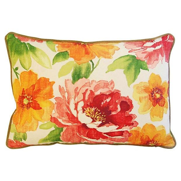 """Early 21st Century Custom Floral & Scalamandre Velvet Feather/Down Pillows 26"""" X 18"""" - Pair For Sale - Image 5 of 9"""