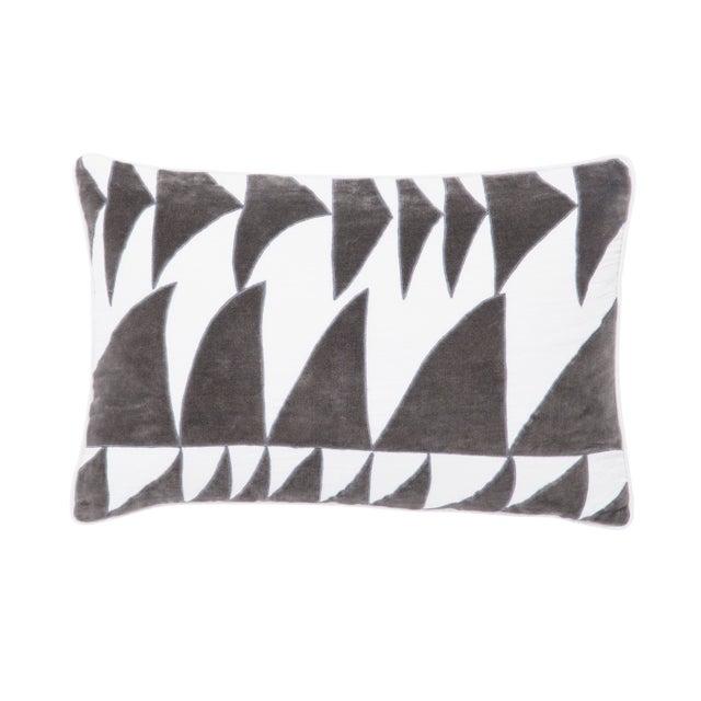 Contemporary Nikki Chu by Jaipur Living Priscilla White/ Dark Gray Geometric Poly Throw Pillow For Sale - Image 3 of 3