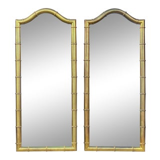 Drexel Oxford Square Faux Bamboo Wall Mirrors - a Pair For Sale