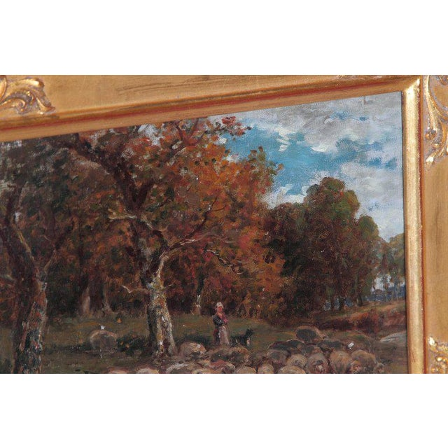 Gold 19th Century Oil Painting of Sheep Signed James Desvarreux For Sale - Image 8 of 13