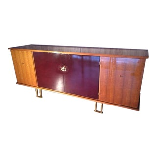 Jules Leleu 1950s Buffet in Red Lacquer by Sain Et Tambute For Sale