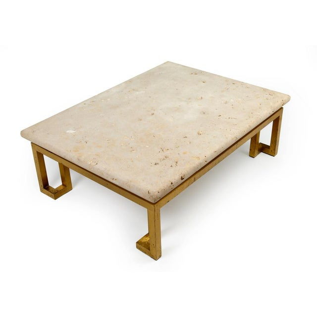 Mid-Century Modern Fossilized Stone Top Cocktail Table after Lorin Marsh For Sale - Image 3 of 7